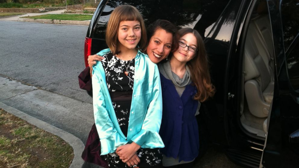 PHOTO: Writer Sandra Tsing Loh with her two pre-teen daughters in California.