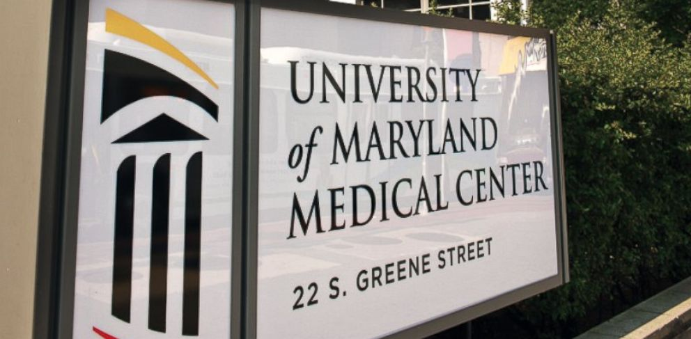 PHOTO: A sign at the entrance to the University of Maryland Medical Center in Baltimore, Md., is shown in this June 8, 2011 photo.