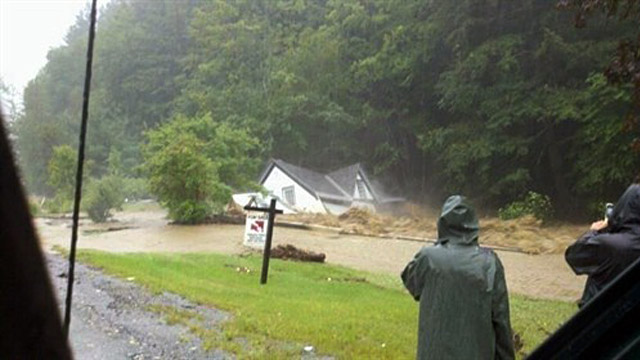 PHOTO:House in Killington Vt. washed off foundation after flooding from Irene