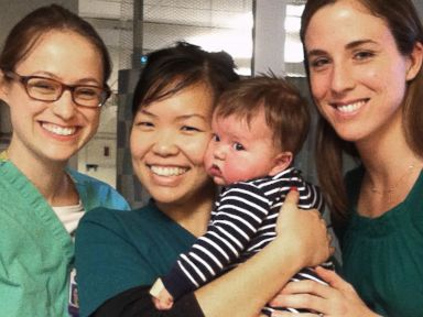 PHOTO: William Will Donovan is shown with nurses at NYU Langone Medical Center after his second heart surgery. He was one of the newborns evacuated during Superstorm Sandy.