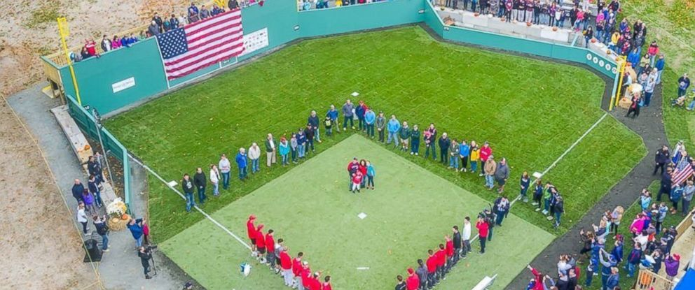 PHOTO: Thomas Hastings, 10, of Windsor, Connecticut, saw his dream come true of turning his backyard into Fenway Park.