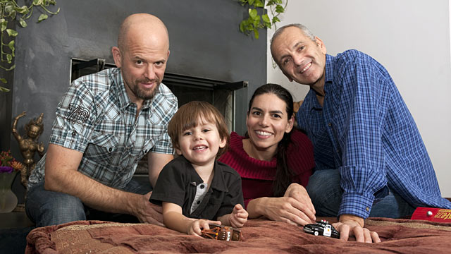 PHOTO: Left to right; Ian Ferguson, Eamon, Jaiya Ma and Jon Hanauer pictured at home, Nov. 22, 2011 in Topanga, California.