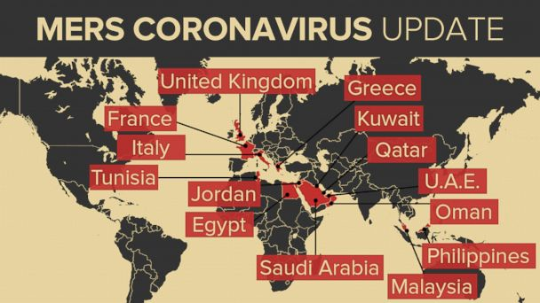 A map of the Mers Coronavirus outbreak.