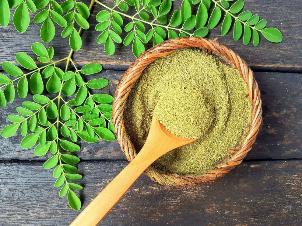 PHOTO: Moringa powder and fresh moringa leaves are pictured in an undated stock photo.