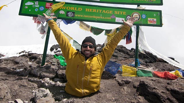 PHOTO: Spencer West at peak of Mt. Kilimanjaro