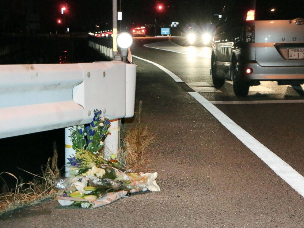 PHOTO: Flowers are laid near the scene where a pedestrian was killed after being hit by a driver playing Pokemon Go while driving in Tokushima, Japan, Aug. 24, 2016.