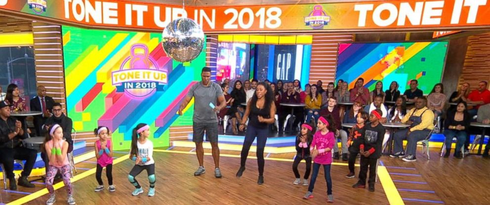 """PHOTO: Celebrity trainer Latreal Mitchell shares exercises for kids on """"Good Morning America,"""" Jan. 12, 2018."""