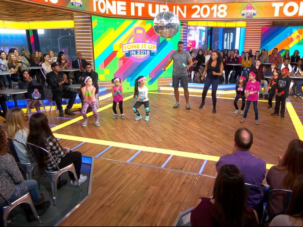 PHOTO: Celebrity trainer Latreal Mitchell shares exercises for kids on Good Morning America, Jan. 12, 2018.