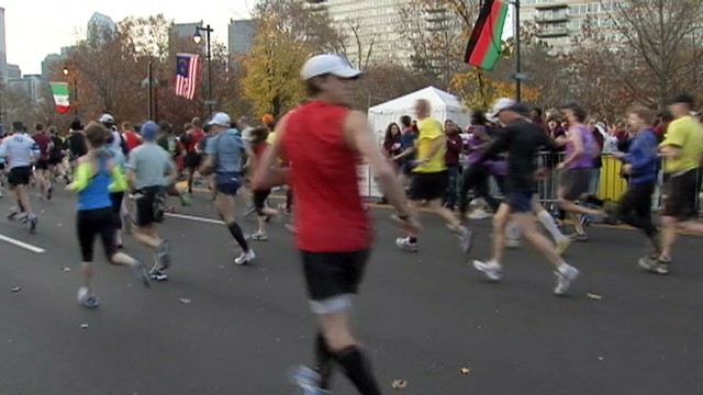 VIDEO: The marathon runners, ages 21 and 40, died of apparent heart attacks.
