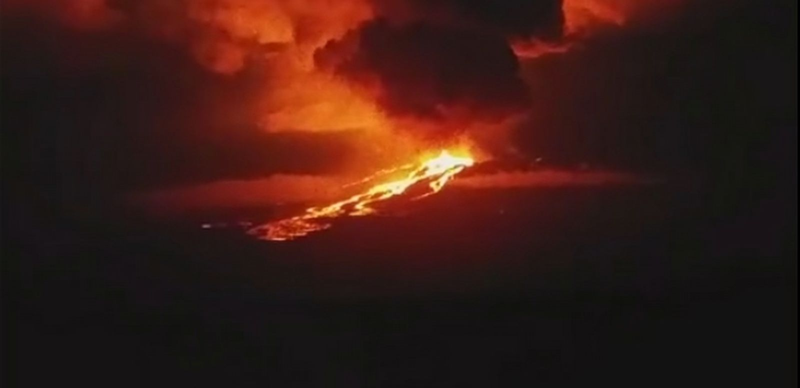 VIDEO: A volcano atop one of the Galapagos Islands has erupted for the first time in 33 years, spewing fire, smoke and lava into the night sky.