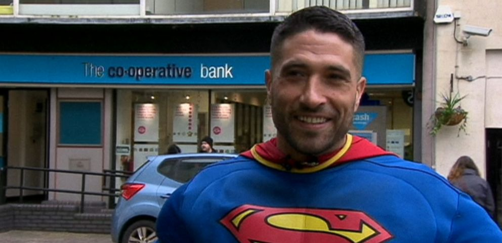 VIDEO: Antonio Cortes, 32, was wearing the superhero outfit as part of his charity work when he came to one womans aid.