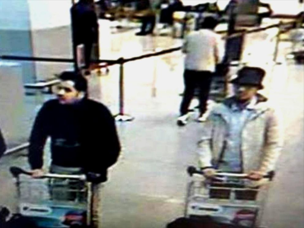 VIDEO: Belgian police released a photo taken from surveillance footage that shows three men pushing baggage carts.