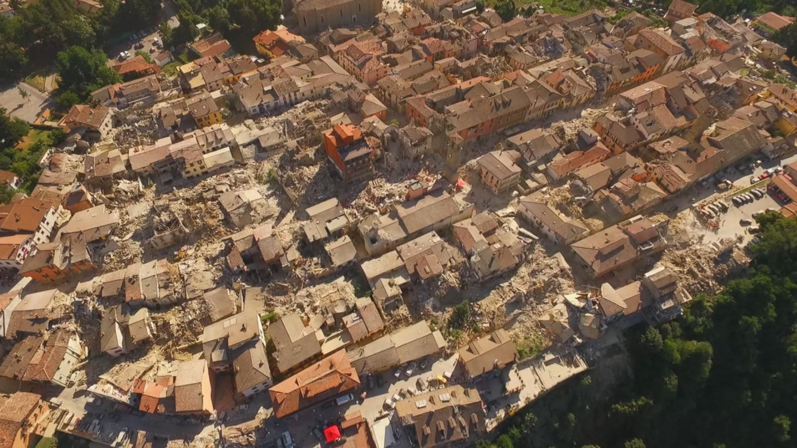 Aerial Video Shows Italy Earthquake Devastation