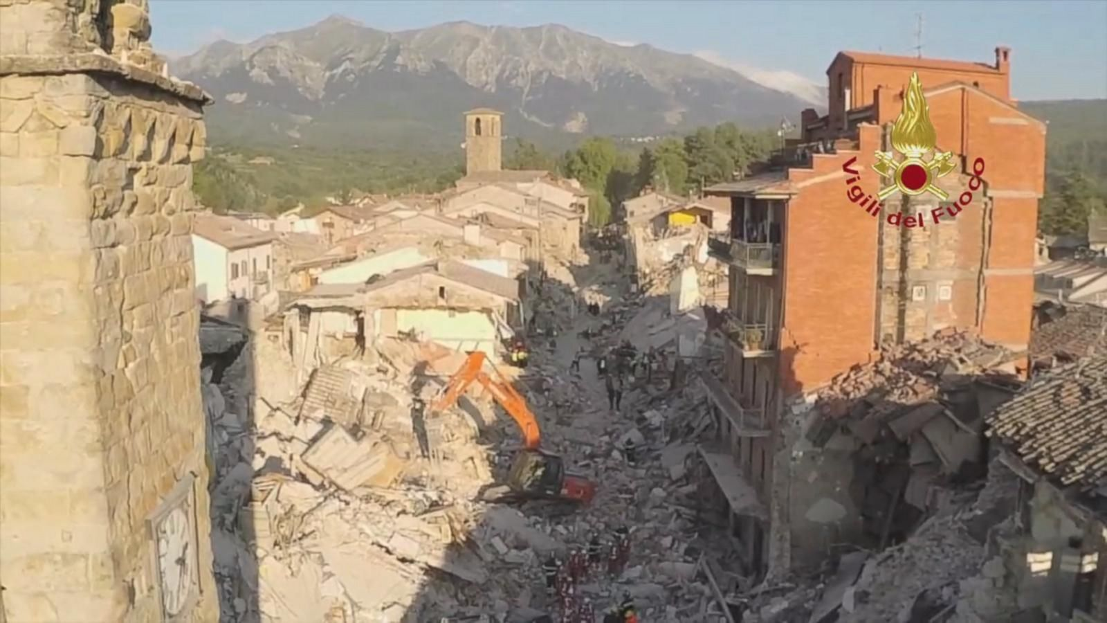 Aftershocks continued to rattle crews today as firefighters searched for survivors in the earthquake-hit town of Amatrice.