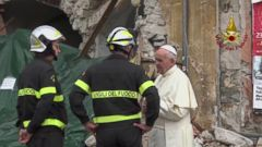 VIDEO: Pope Francis visited the town of Amatrice in central Italy that was devastated by a major earthquake that struck last month, comforting the survivors and speaking with emergency responders.