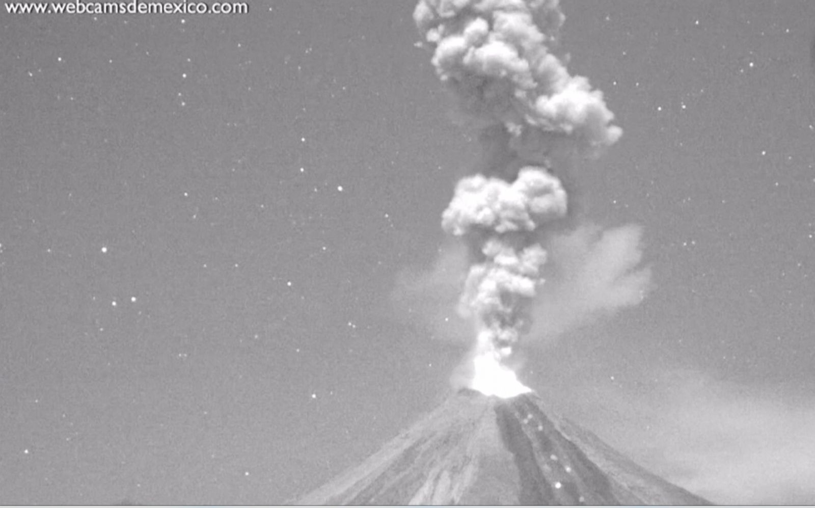 Mexico's Colima volcano, one of the most active volcanoes in Central America, erupts four times in one night.