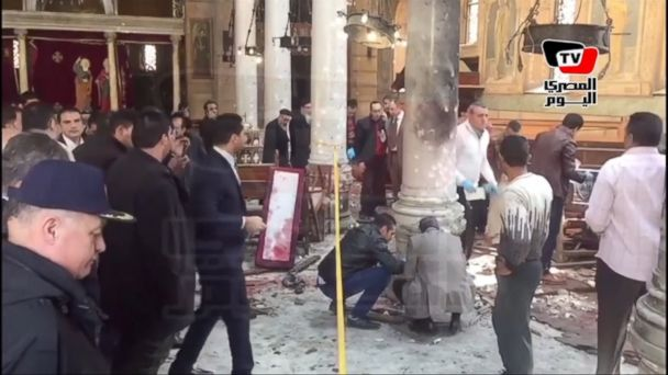VIDEO: The bomb went off during Sunday Mass at a chapel adjacent to St. Mark's Cathedral, seat of the ancient Coptic Orthodox church.