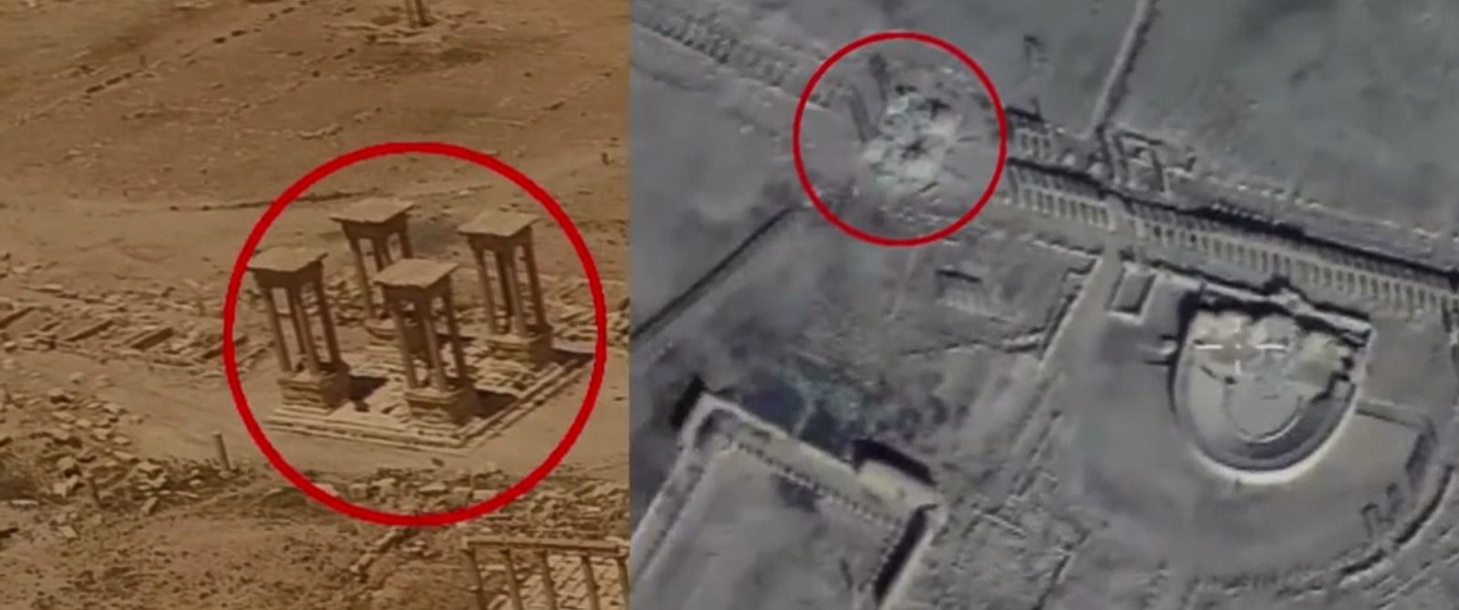 VIDEO: The Russian Defense Ministry released drone footage on Monday showing what it claims is new damage to Palmyras archaeological site.