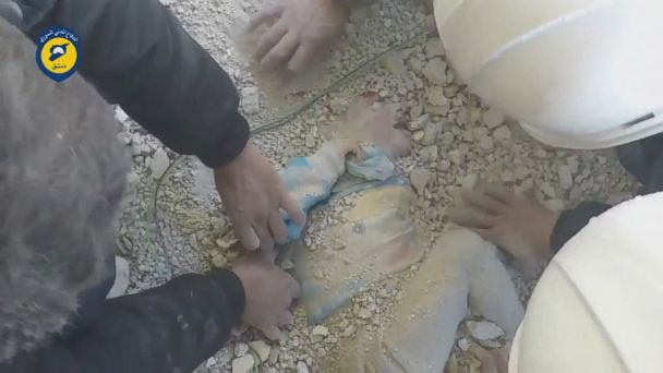 A young girl was pulled alive from rubble after strikes hit the opposition-held Damascus suburb of Tishreen on February 19, according to this video from the Syrian Civil Defense.