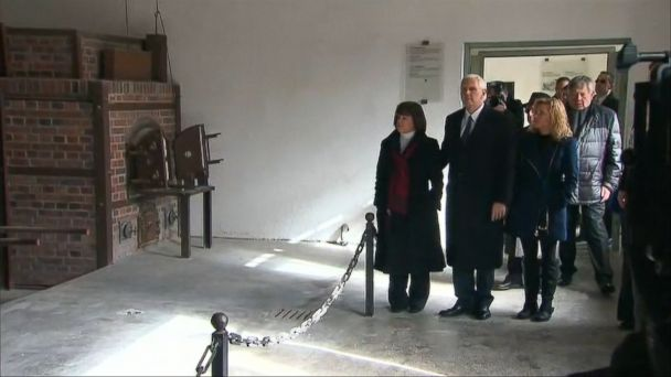 U.S. Vice President Mike Pence paid a somber visit to the site of the Dachau concentration camp on Sunday, walking along the grounds where tens of thousands of people were killed during World War II.