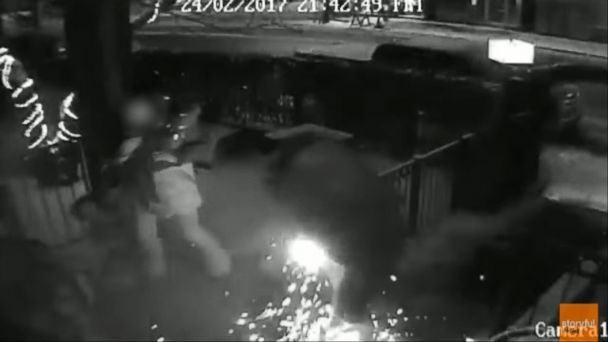 VIDEO: Surveillance video shows a man's pants catch fire, leaving him with third-degree burns.