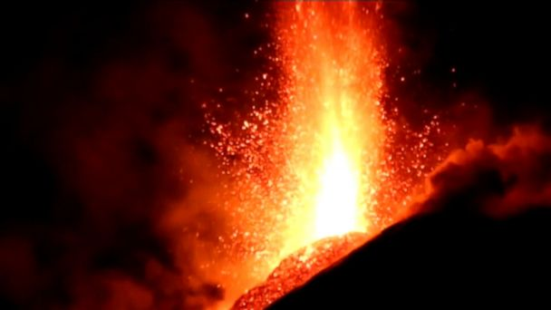The volcano's latest eruptions, which can last days and even weeks, began on Monday evening. The giant orange fountains of lava, spewing toward the sky,