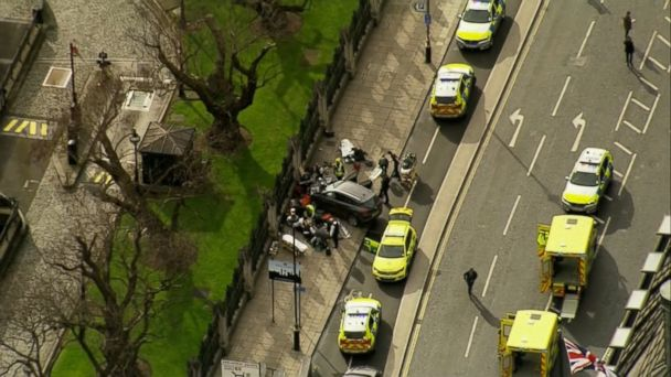 VIDEO: London's Metropolitan Police said an attack near the Houses of Parliament in which an assailant apparently plowed a car into pedestrians and an officer was stabbed has been declared a terrorist incident.