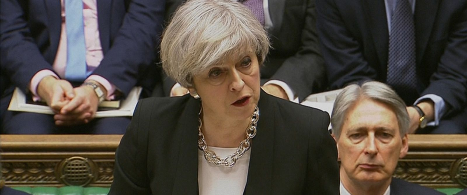 """VIDEO: Theresa May spoke in the House of Commons, saying, """"Our resolve will never waiver in the face of terrorism."""""""