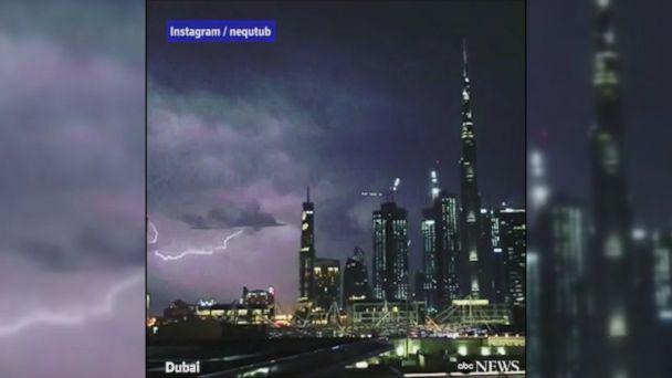 VIDEO: Lightning bolts illuminate the Dubai skyline during a severe thunderstorm.