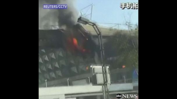 Shanghai soccer stadium catches fire