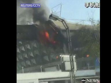 WATCH:  Shanghai soccer stadium catches fire