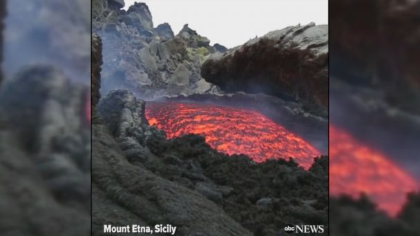 VIDEO: Fiery-red lava flows from Mount Etna in Sicily, Europe's most active volcano.