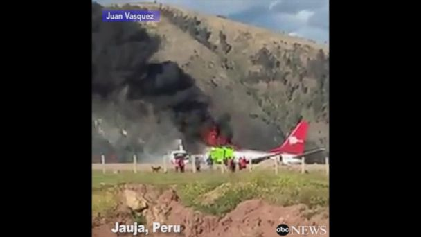 VIDEO:  Passenger jet catches fire at Peru airport