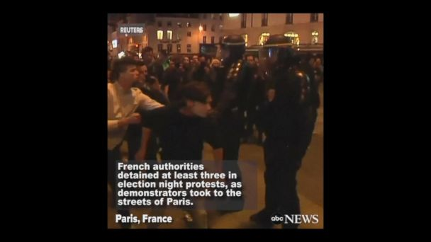 VIDEO: Arrests, cars burned in French election protests