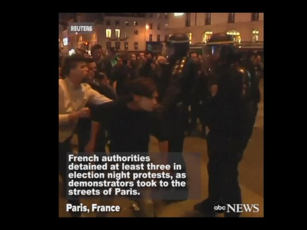 WATCH:  Arrests, cars burned in French election protests
