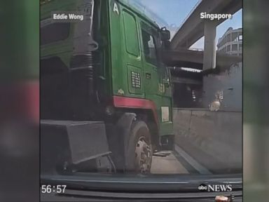 WATCH:  Truck colliding with car caught on dashcam