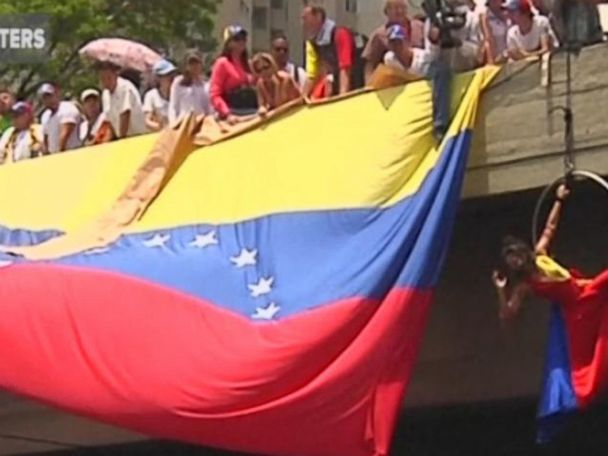 WATCH:  Acrobat joins Venezuelans staging massive sit-in to protest government