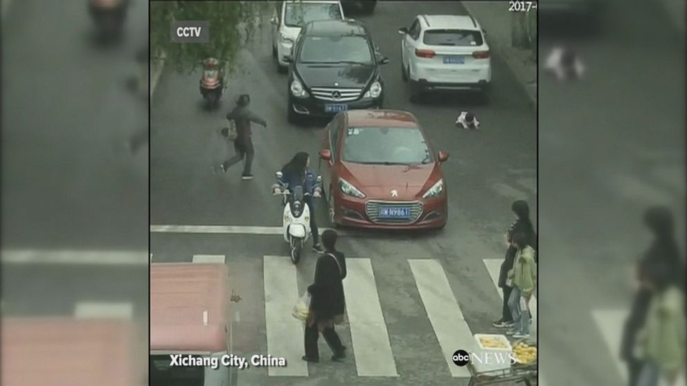 2-year-old survives being run over by 2 cars in China