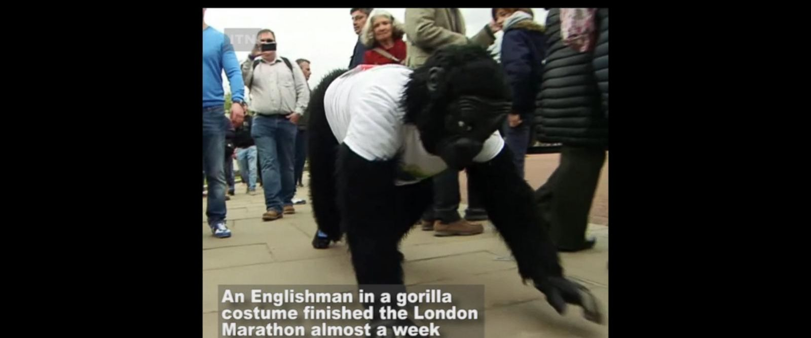 VIDEO: Englishman in gorilla costume finishes London Marathon after 6 days