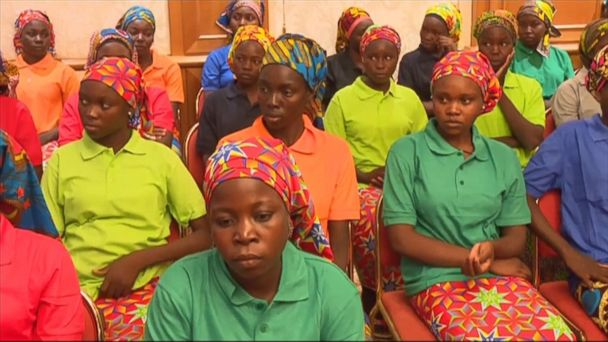 VIDEO: Video shows 82 Chibok schoolgirls freed by Boko Haram after 3 years in captivity meet with Nigeria's president.