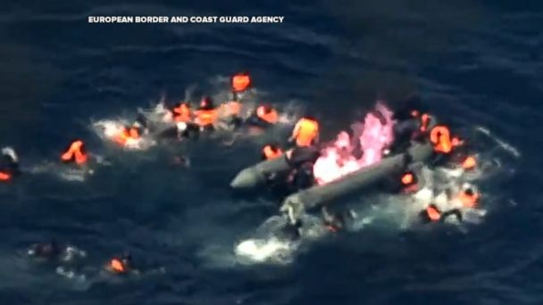This dramatic footage shows a Portuguese Air Force airplane saving 34 migrants after their boat caught on fire off the Spanish coast.