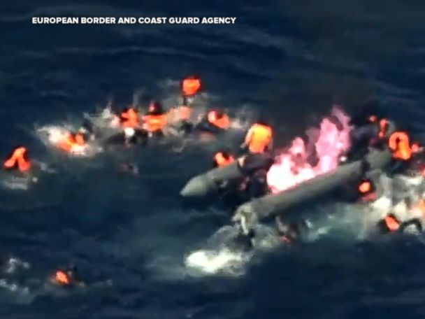 WATCH:  34 migrants rescued in sea after boat caught fire