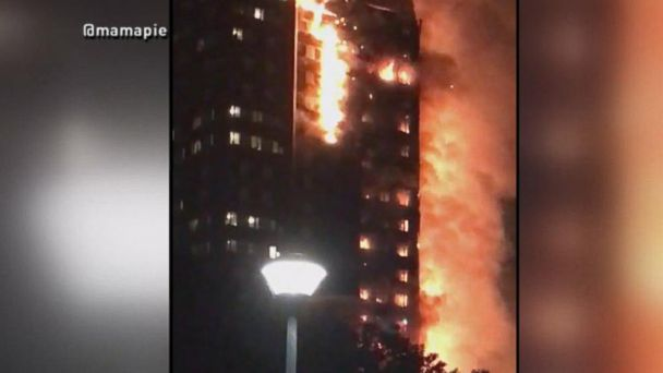 VIDEO:  Large fire engulfs high-rise building in London
