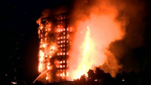A massive fire engulfed a residential high-rise building in London on Wednesday, leaving at least 74 people injured and 12 dead.