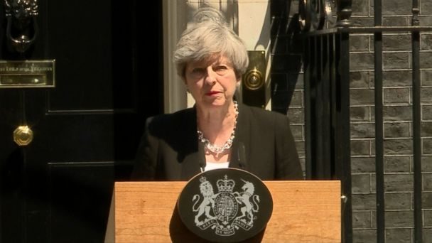 VIDEO: The British prime minister made her remarks outside of 10 Downing Street.