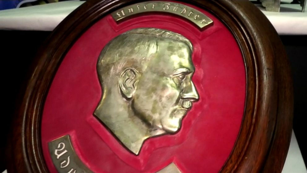 VIDEO: The artifacts, which include a bust of Adolf Hitler, were found in a hidden room in a house near Buenos Aires.