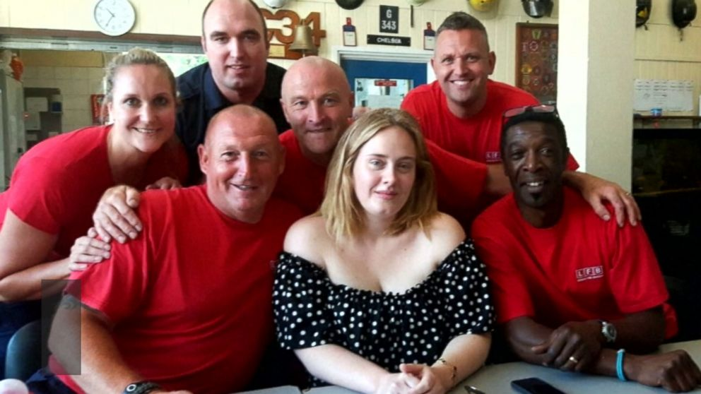 Adele paid an unexpected visit to the Chelsea Fire Station in England on Monday to thank Red Watch firefighters for battling the Grenfell Tower fire, which killed dozens of people.