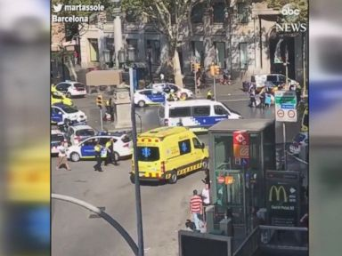 WATCH:  Police respond to truck hitting pedestrians on busy Barcelona street