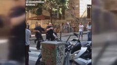 Heavily armed police were seen searching for a potential suspect after a vehicle hit a crowd on a busy Barcelona street.