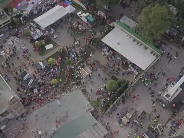 WATCH:  Drone video shows rescue efforts at Mexican school